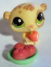 Littlest Pet Shop #1888 Tan Cream Baby Hamster Eating Apple Green Eyes Toy LPS