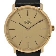 Vintage OMEGA Deville  Push crown Gold Plated/Leather Quartz Men's Watch B#94509