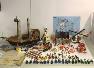Playmobil Vintage Bundle - 3789 Helicopter / 3750 Pirate Ship / 3733 Indian Camp