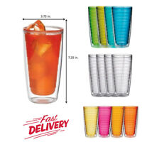 Plastic Tumblers Double Wall Insulation Set of 4 Pcs 24oz for Hot & Iced Drinks