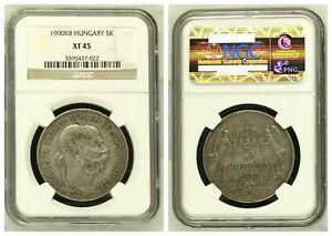 NGC Hungary 1900 KB 5 Korona Franz Joseph Angels Holding Crown Silver Coin XF45