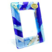 Murano Glass Photo Frame Blue Gold Leaf White From Venice Unique Item 11cmx8.5cm