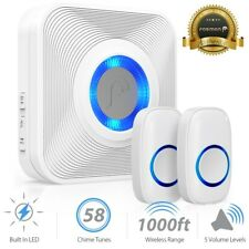 1000FT Water Resistant Wireless Doorbell Chime [1 Plugin Receiver+2 Transmitter]