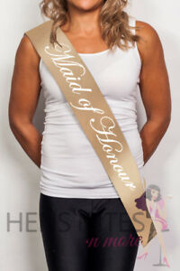 Gold Sash with White Cursive Writing - MAID OF HONOUR