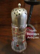 Antique 1880s American Folk Art Hand Blown & Painted Hearts Glass Sugar Shaker