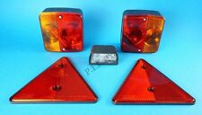 FREE P&P* Trailer Rear Light Set with Triangle Reflectors & Number Plate Lamp