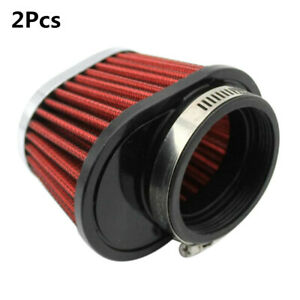 2Pcs Red 2.15in Metal Round Tapered Car Air Intake Filter Kit Auto Accessories