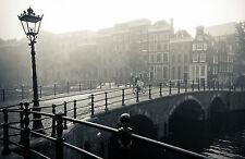 Framed Print - Black & White City View Mid-Town Stone Bridge (Picture Poster Art