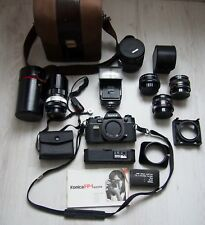 Konica Fp1 35mm Slr Film Camera 28mm, 55mm, 135mm lens, flash, winder & more kit