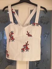 Ladies Clothes Size SMALL zara Trafaluc Summer Top White Quirky Print (622)