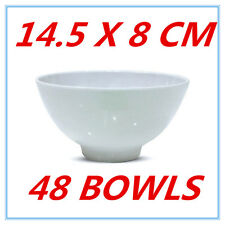 48 X GLOSSY WHITE MELAMINE ROUND RICE BOWLS BOWL PARTY FUNCTION EVENT KITCHEN FD