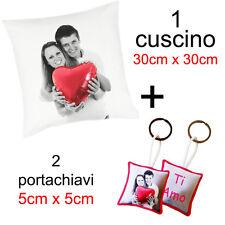 1 cuscino + 2 portachiavi con tua foto fronte retro idea regalo per Natale