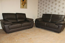 SISI ITALIA PAIR OF AZZURA 2 SEATER SOFA'S IN DARK BROWN LEATHER