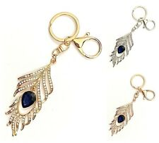 Crystal Feather Keyring Bag Chain Ladies Gift Handbag Accessories Present Gift