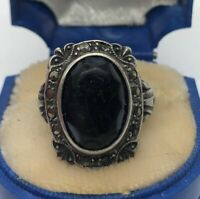 Vintage Sterling Silver Ring 925 Art Deco Marcasite Blue Glass Antique Size 4
