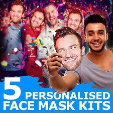 5 custom face Masken für Herrenabend Geburtstag ihm Party Spaß Jungs Ausgehen