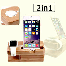 2in1 Wood Bamboo Charger Dock Stand Holder for Apple Watch Series 2&iPhone 6S 7