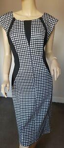 Star Julien Macdonald Black & White Dog Tooth Print Cap Sleeve Dress Size 14