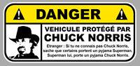 DANGER VEHICULE PROTEGE PAR CHUCK NORRIS FUN DRIFT JDM 12cm  STICKER  DA206
