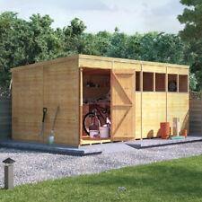 16x8 Tongue & Groove Wooden Workshop Shed Double Door  Pent Roof Felt 16ftx8ft