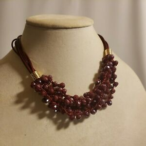 New Time & Tru Women's Gold Tone Multi Strand Necklace Wine Glass Sparkly