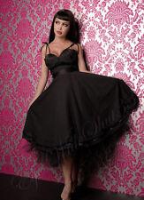 Robe Longue Noir à Pois Pinup Swing Rockabilly Lip Service Dress XS 32 34