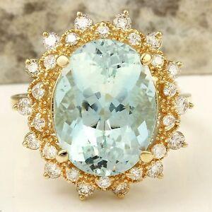 7.59Ct Natural Aquamarine and Diamond 14K Solid Yellow Gold Ring