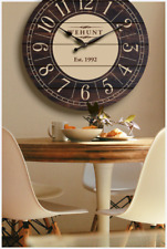 Personalised Large Rustic Wall Clock Oversized Wooden Farmhouse Country Decor