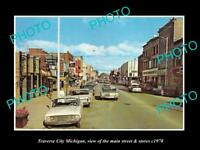 OLD LARGE HISTORIC PHOTO OF TRAVERSE CITY MICHIGAN, THE MAIN St & STORES c1970