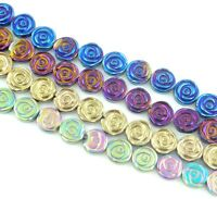 8mm Beautiful Titanium Carved flower Hematite  beads 15.5 inch Jewelry making