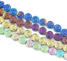 8mm Beautiful Titanium Carved flower Hematite loose beads 15.5 inch C3