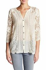 Lucky Brand - Womens M - NWT - Ivory Lace Mixed Media 3/4 Sleeve Knit Top Blouse