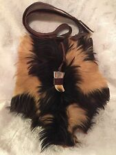 Moroccan Leather Natural Goat Fur Rustic Raw Cut Handbag Hobo Style Artisan Made