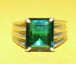 ~MEN'S~VTG~ART~DECO~STERLING~SILVER~EMERALD~CUT~GREEN~EMERALD~RING~SIZE~9~SIGNED