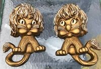 VTG MID CENTURY HOMCO GOLD LIONS CUBS WALL PLAQUES ART SET OF 2 COTTAGE GLAM