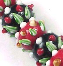 6 Lampwork Handmade Glass Rondelle Beads Christmas Glory Beads