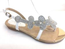 LADIES WOMENS WHITE LEATHER FAUX LOW WEDGE HEEL DIAMANTE COMFY SANDALS SIZE 5