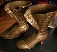 Vintage Brass Victorian Boots  Fireplace Match Holder- Doorstop-Planter Vase