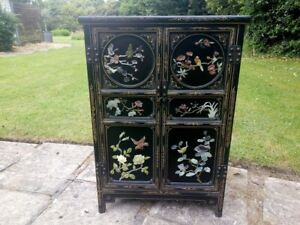 20th Century Chinese Chinoiserie Decorated Black Lacquer and Hardstone Cabinet