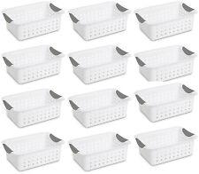 12) Sterilite 16228012 Small Ultra Plastic Storage Bin Organizer Baskets -White