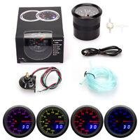 """New 2"""" Digital & Pointer 7 Color LED Car Turbo Boost Meter PSI Gauge with Sensor"""