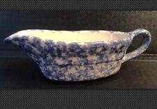 Roseville Gravy Boat Pottery Gravy Boat Blue Spongeware Splatter ware