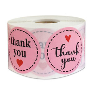500Pcs 1'' Thank You Heart Stickers Scrapbooking Round Envelope Gift Seal Labels