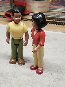 Vintage Little Tikes Place AFRICAN-AMERICAN MOM AND DAD Dollhouse Figures RARE!