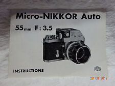 Micro-Nikkor 55mm f 3.5 Instructions Booklet guide