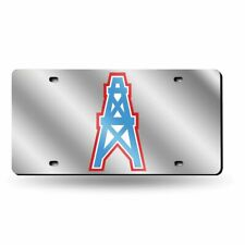 Houston Oilers Retro NFL Mirrored Laser Cut License Plate Laser Tag
