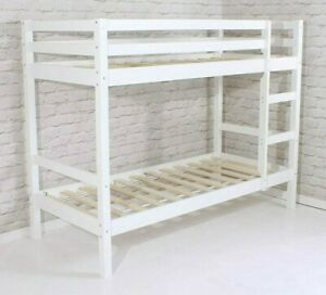 """Shorty Bunk Bed Pine New White  Wooden 2ft 6"""" With Slats"""