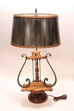 Vtg Antique Furniture Wormwood Lyre Harp Book Music Stand Table Lamp Italy Made