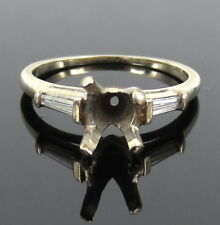 Vintage 0.20ct Tapered Baguette Diamond 14K White Gold Semi Mount Ring Size 5.5
