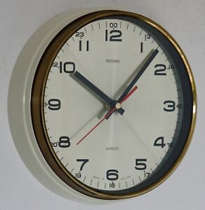 Vintage 22cm Metamec Wall Clock - Cream Gold Retro Mid Century 1960s Kitchen